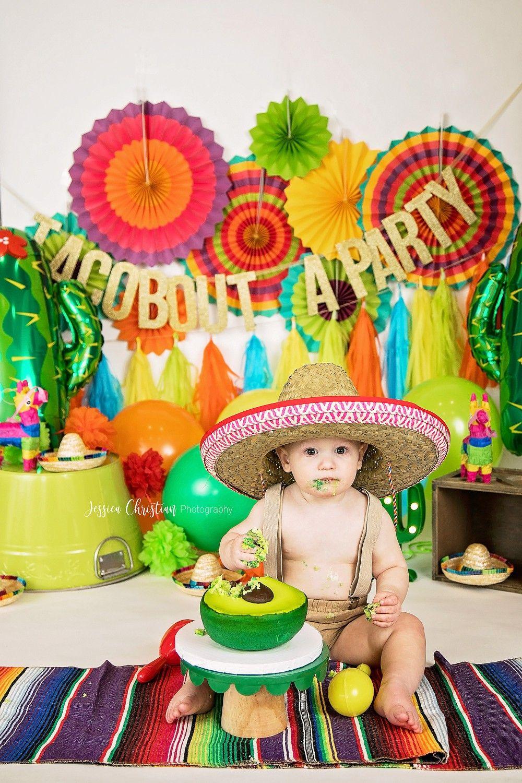 Fun fiesta taco guacamole cake smash mexican fiesta