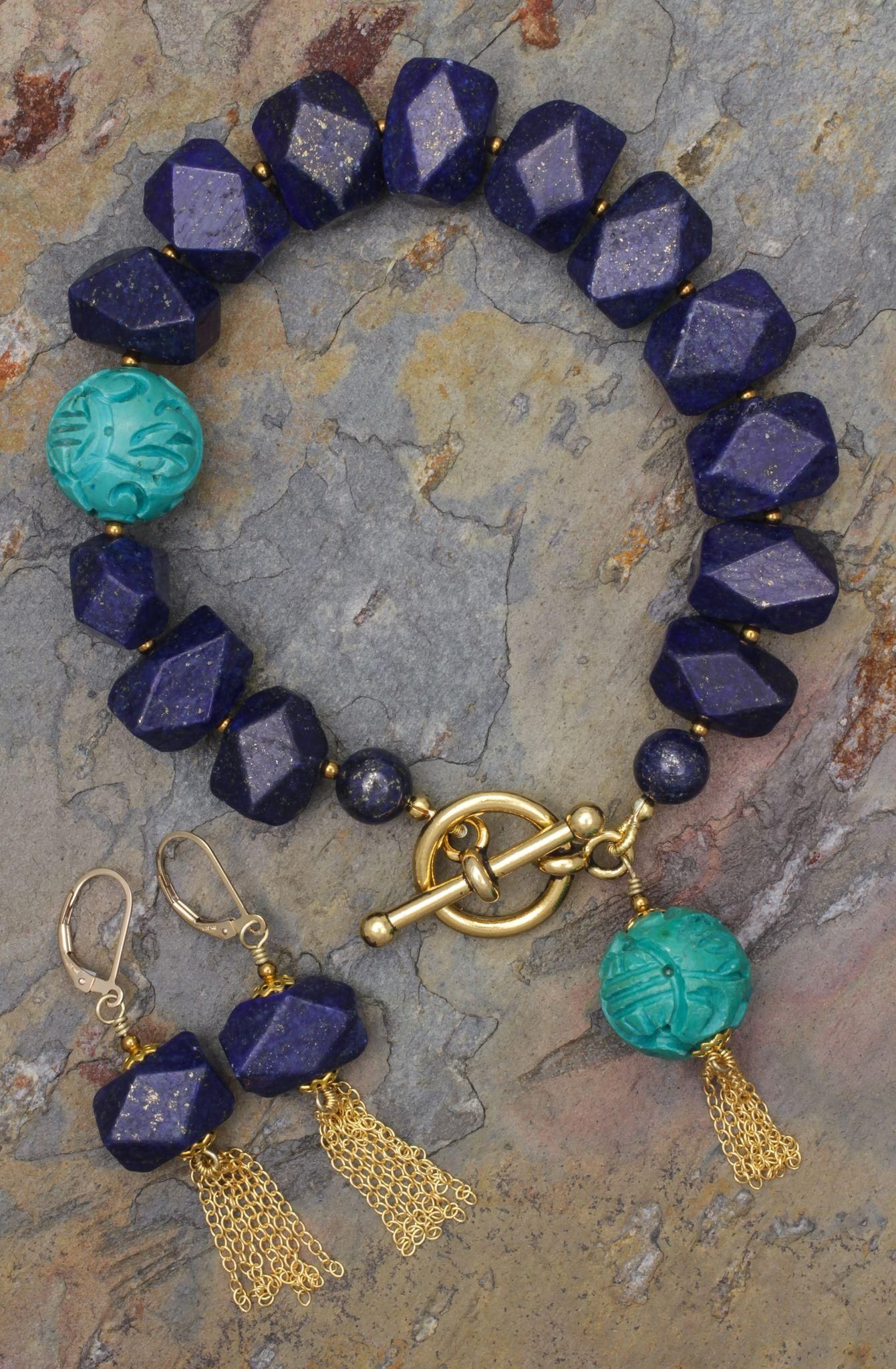 39326019e830 Lapis Lazuli and Turquoise Bracelet and Earrings with Tassels - Lapis  Lazuli and Turquoise Bracelet and Earrings with Tassels