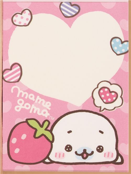 pink mini note pad mamegoma baby seal strawberry