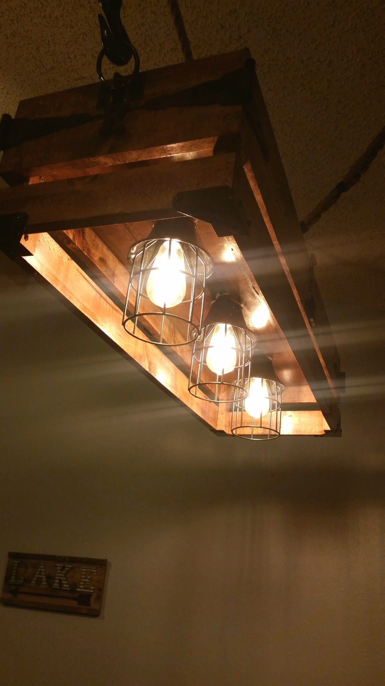 Rope Pulley Whisky Barrel Ceiling Light