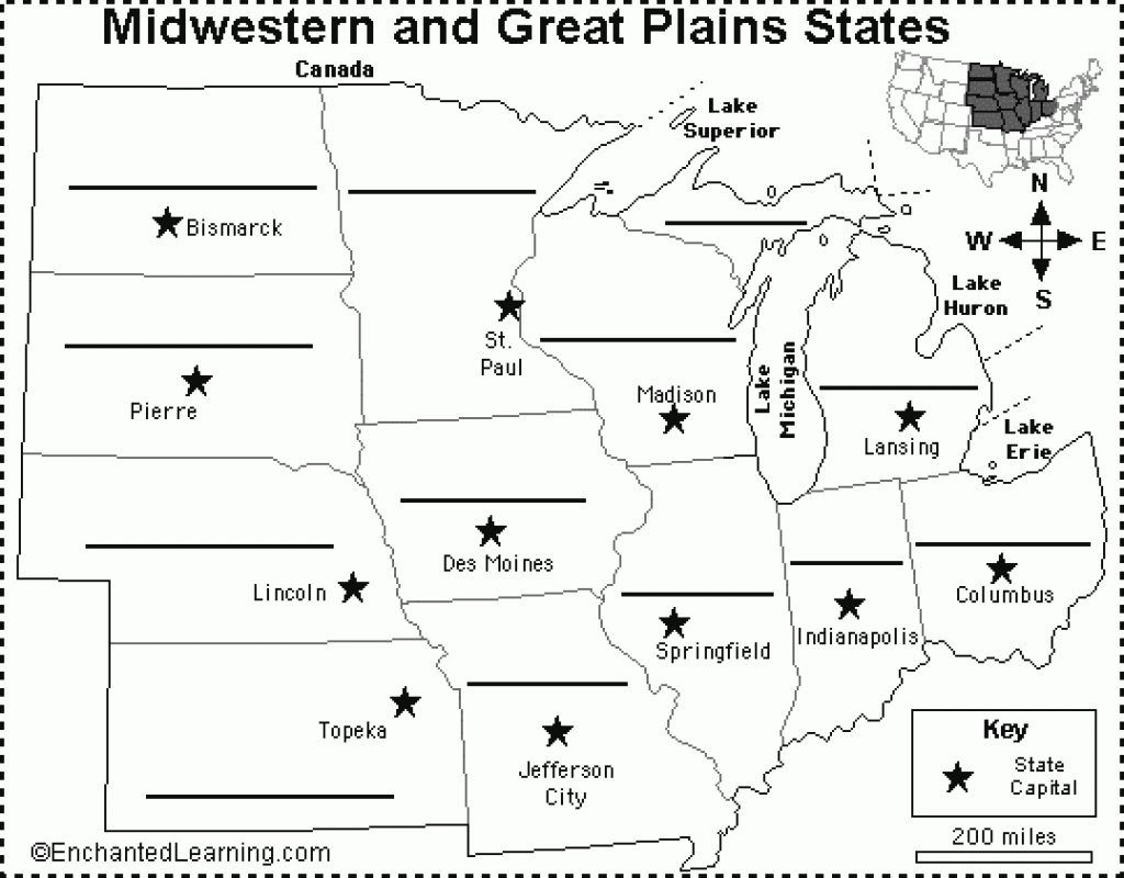 Specific The Midwest States Map All Capitals Of Us States