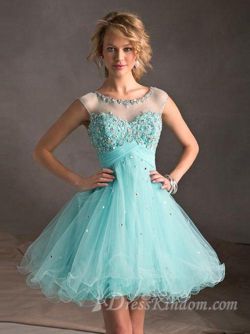 A-line Scoop Short / Mini Beading Organza Homecoming Dresses [10129971] - US$139.99 : DressKindom
