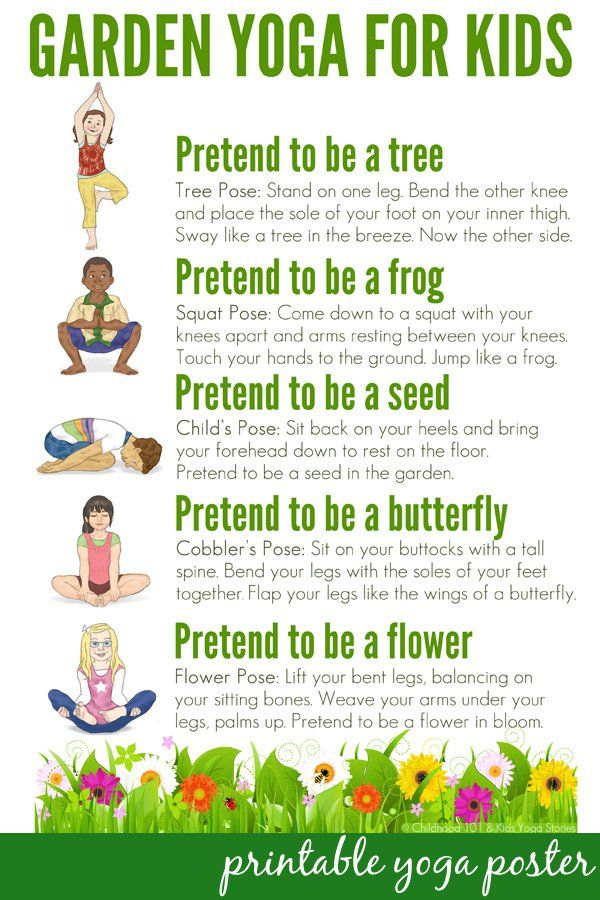 This is a graphic of Printable Yoga Poses for Preschoolers in children
