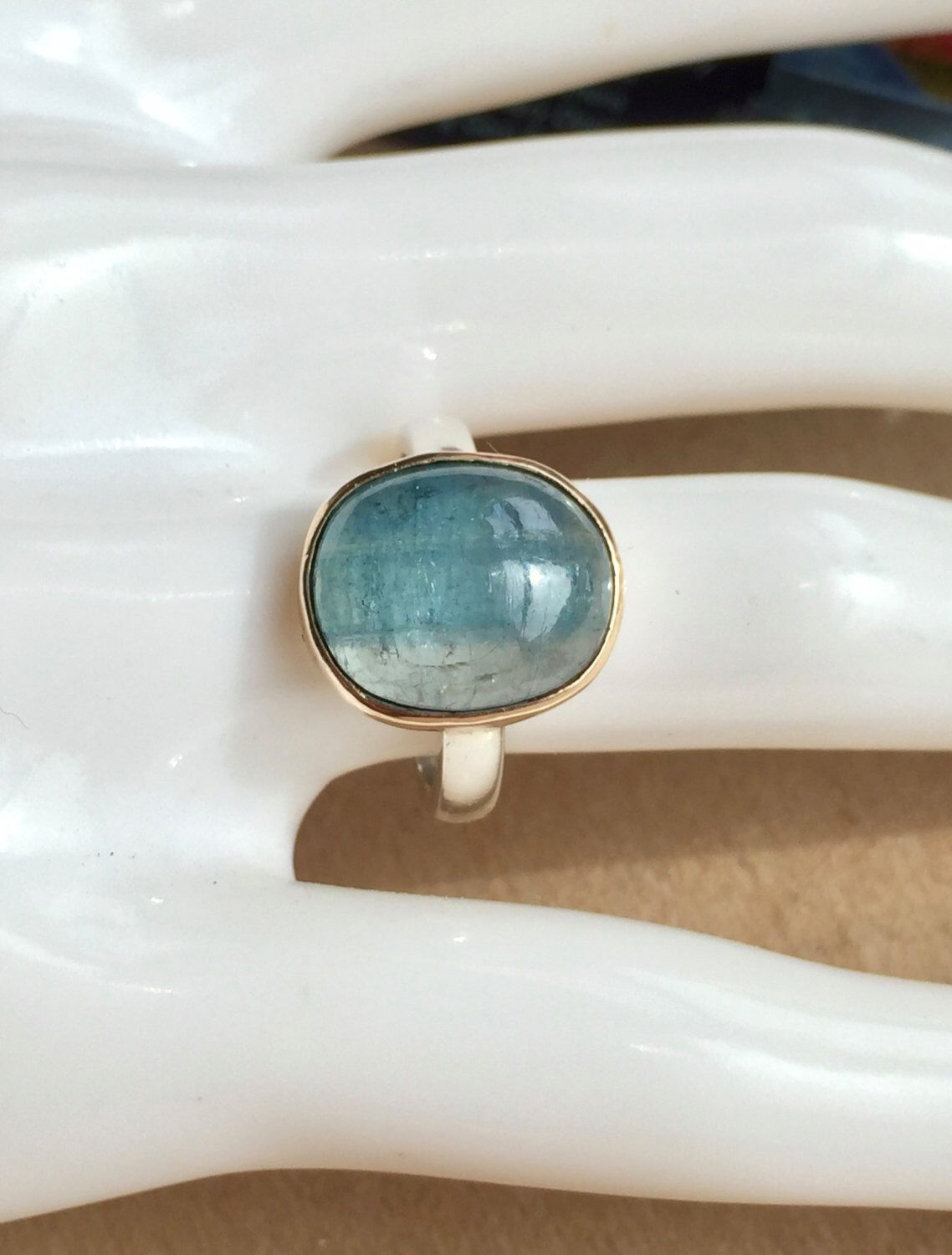 Bi Colour Aquamarine 14K Gold Setting, Sterling Silver Ladies Ring. Size US-6, UK-L 1/2. by MenschJewellery on Etsy https://www.etsy.com/listing/481459977/bi-colour-aquamarine-14k-gold-setting