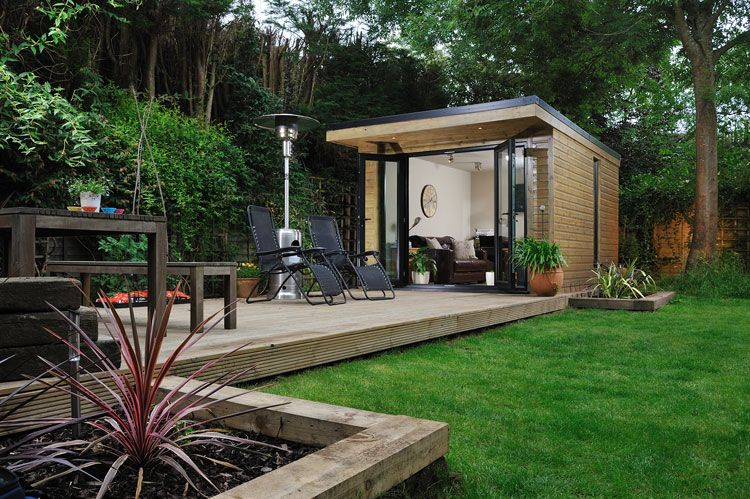 Nice idea for an outside office and decking backyard for Outdoor office building