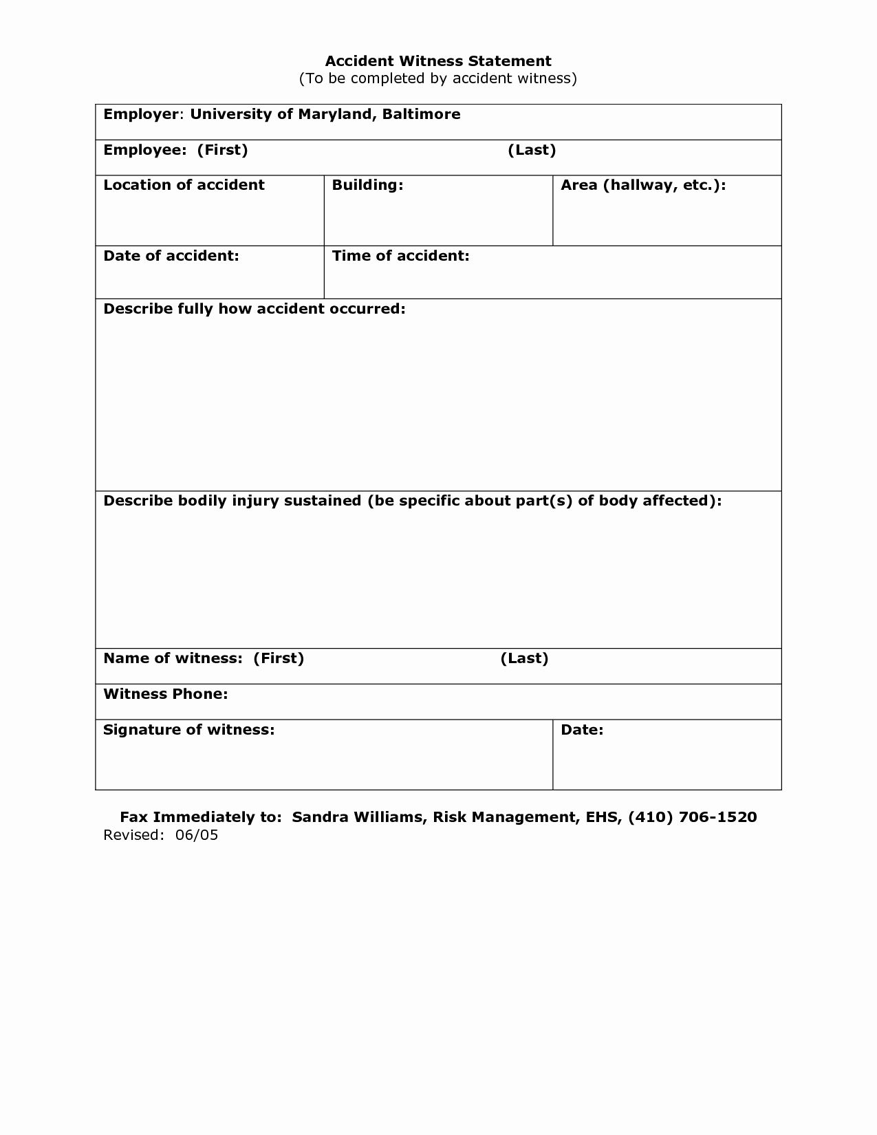 Witness Statement Form Template Luxury 23 Of Work Accident Witness