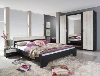 Chambre adulte contemporaine chêne blanc/gris métallique Yolene II ...