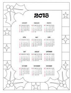 2018 Calendar For Kids Boyama Sayfalari Kart Yapimi Ve Kartlar