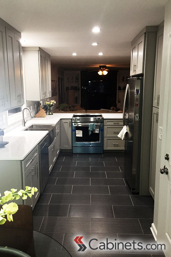 This U Shaped Modern Kitchen Features Shaker II Maple Willow Gray Assembled  Cabinets. #