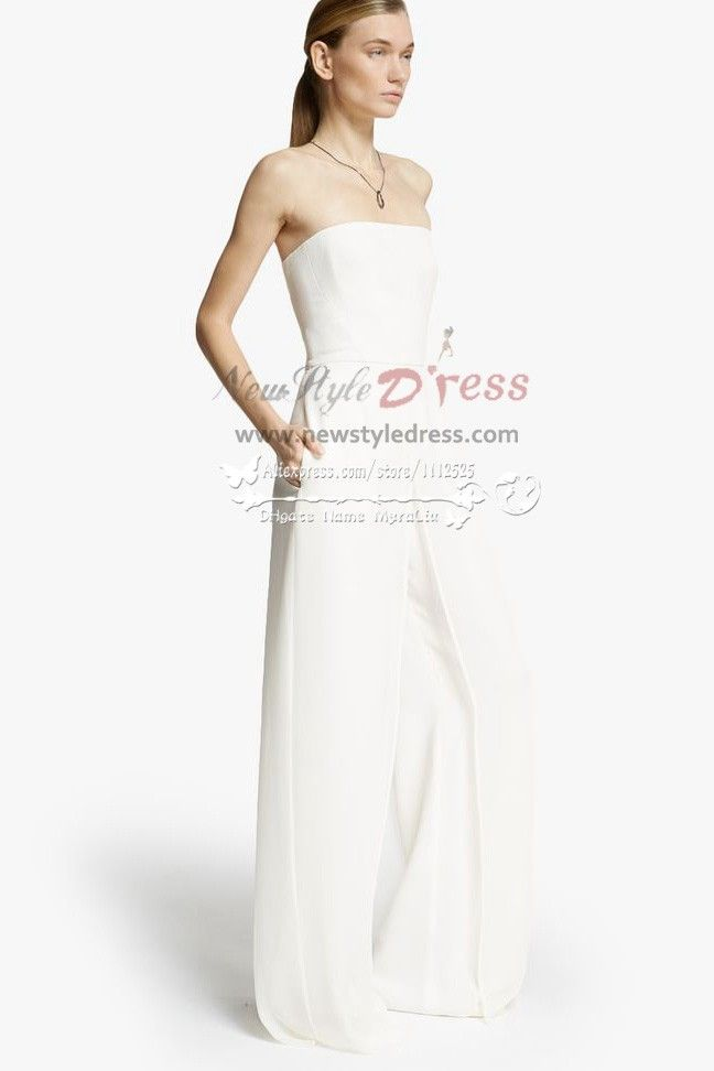 Simple pant suit wedding dress wps-014 | Bridesmaids Jumpsuits ...
