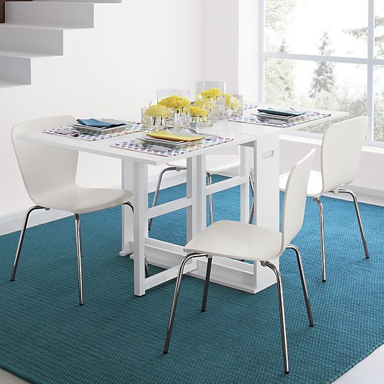Span White Gateleg Dining Table Crate And Barrel Folds