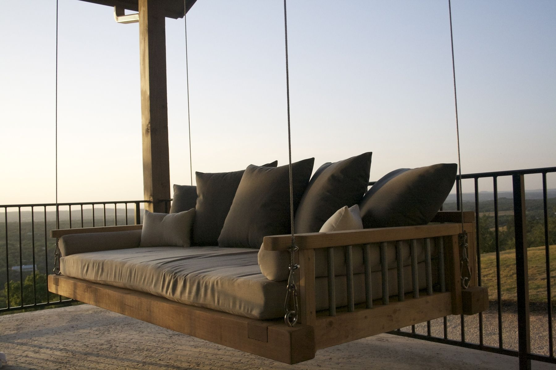 $3999 Custom Made Cedar Swing Bed Suspended By Galvanized Cable