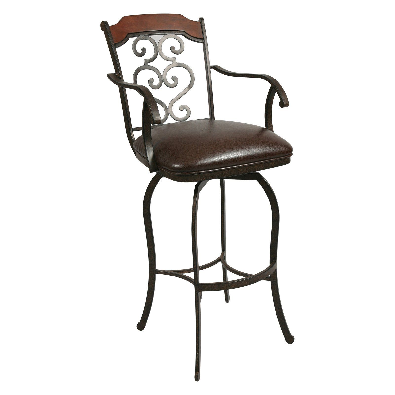 Pastel 30 In Jersey Meadow Swivel Bar Stool With Arms Autumn Rust Swivel Bar Stools Bar Height Stools Bar Stools