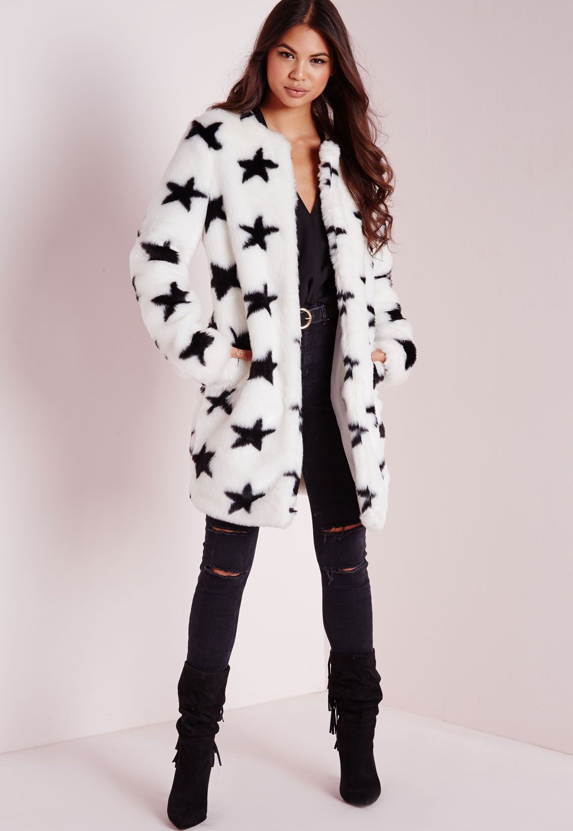 189cfbced356 Missguided - Faux Fur Star Print Coat White
