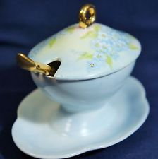 Hand Painted /French China Mustard Pot with Spoon & Underplate