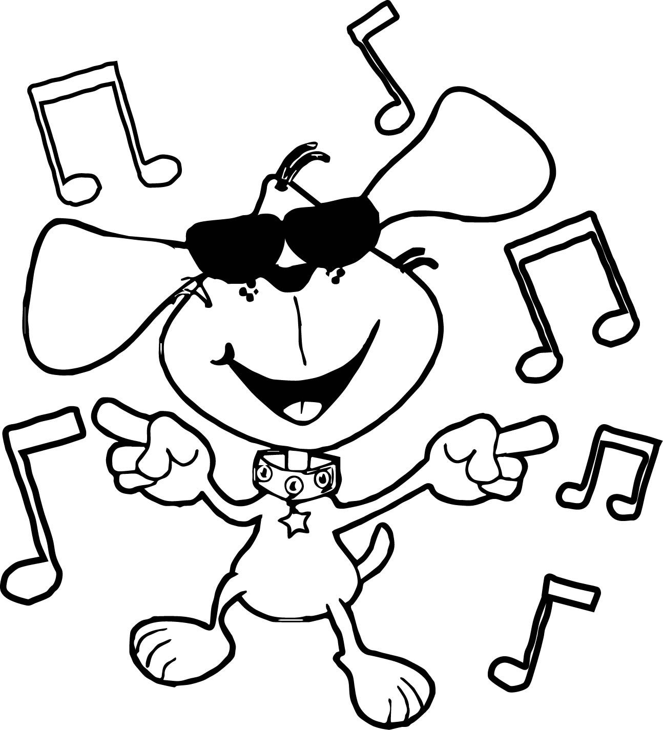 Nice Chien Dance Dog Coloring Page