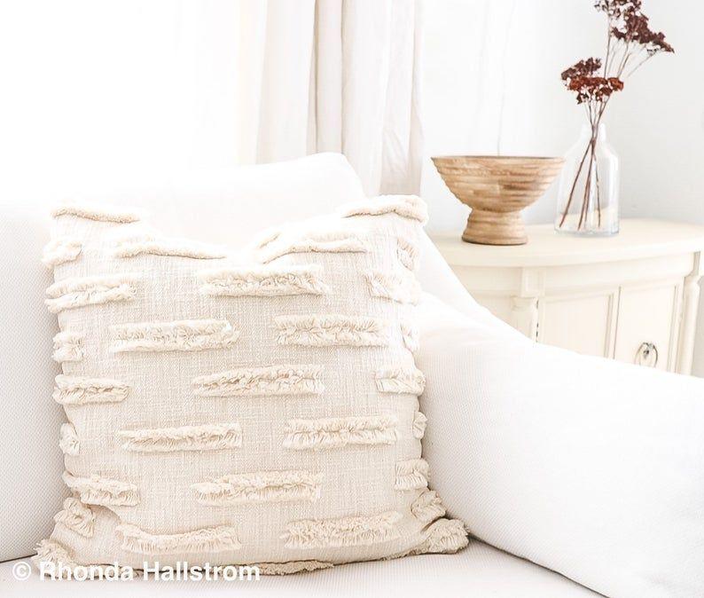 """20"""" Off White Throw Pillow Texture Boho Modern Farmhouse"""