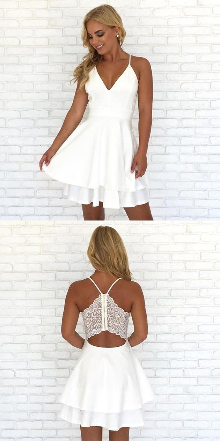 Spaghetti straps v neck short prom dress homecoming dress my style