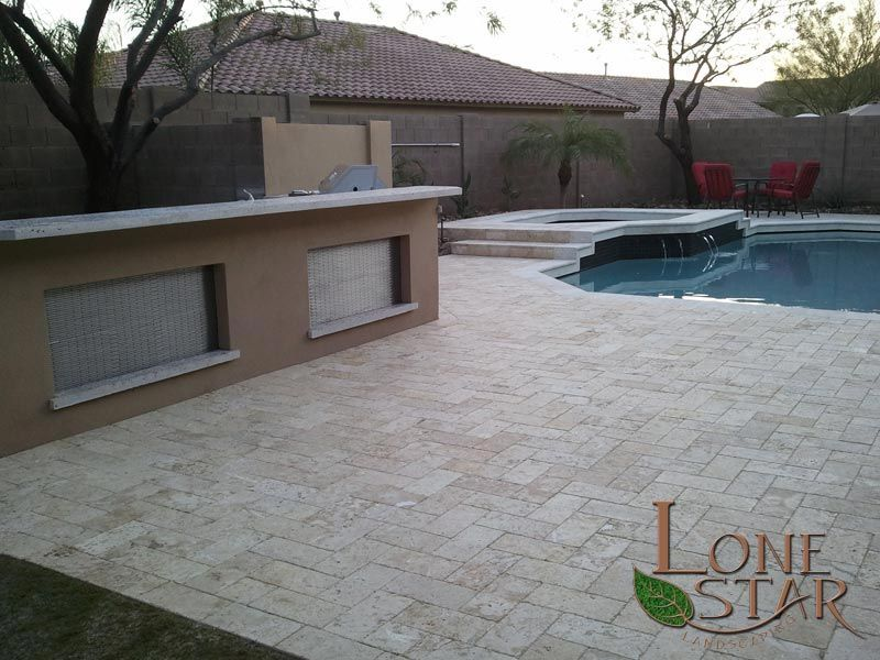 Marbella stone pavers and coping on swimming pool remodel in Phoenix, AZ. -  www.lonestaraz.com - Marbella Stone Pavers And Coping On Swimming Pool Remodel In Phoenix