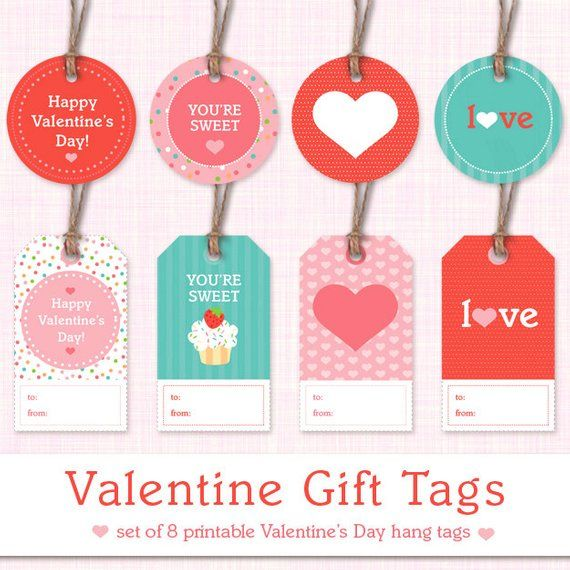 photograph about Valentine's Day Tags Printable named Printable Valentine Reward Tags - Mounted of 8 Valentines Working day