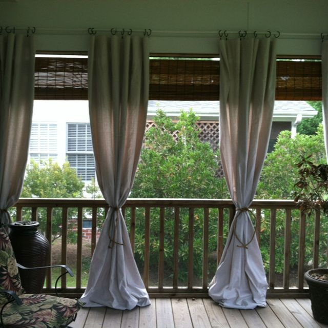 Curtain For Balcony: Use Inexpensive Drop Cloth To Add Style To Your Porch