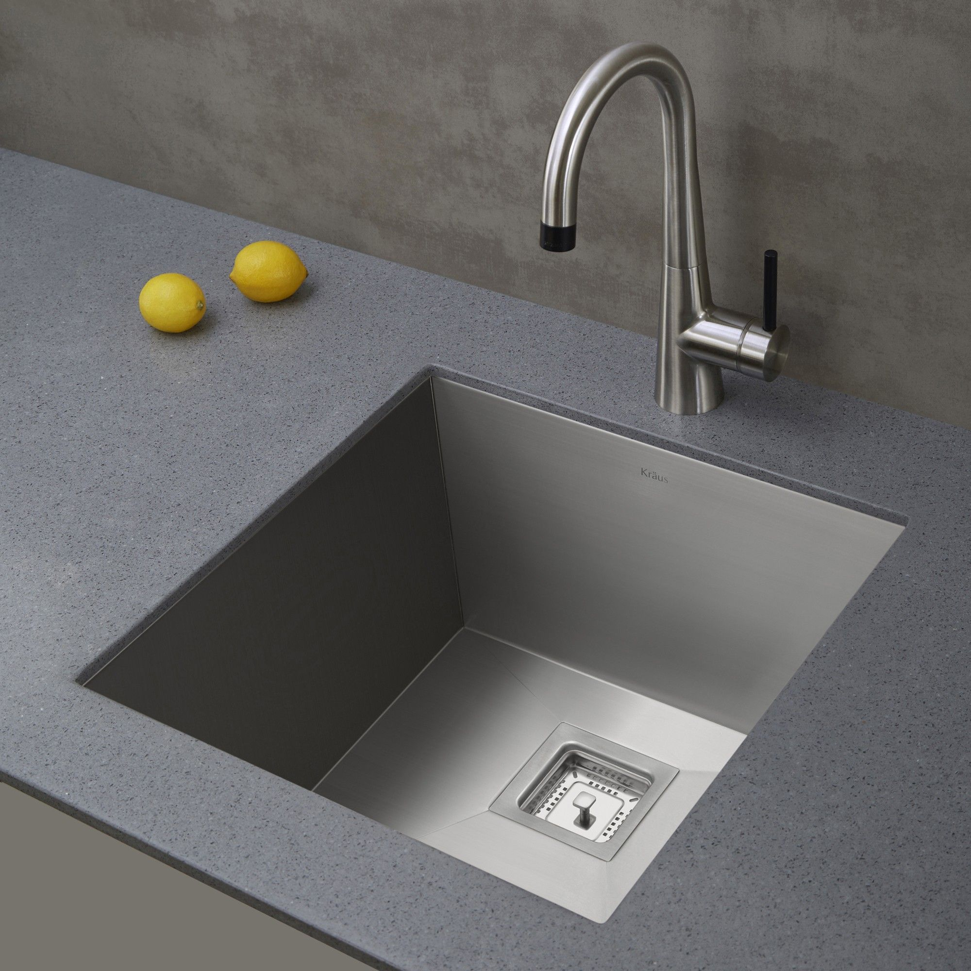 Kraus Pax Zero Radius 18 ½ Inch Handmade Undermount Single Bowl Gauge Stainless Steel Bar Sink With Noisedefend Soundproofing