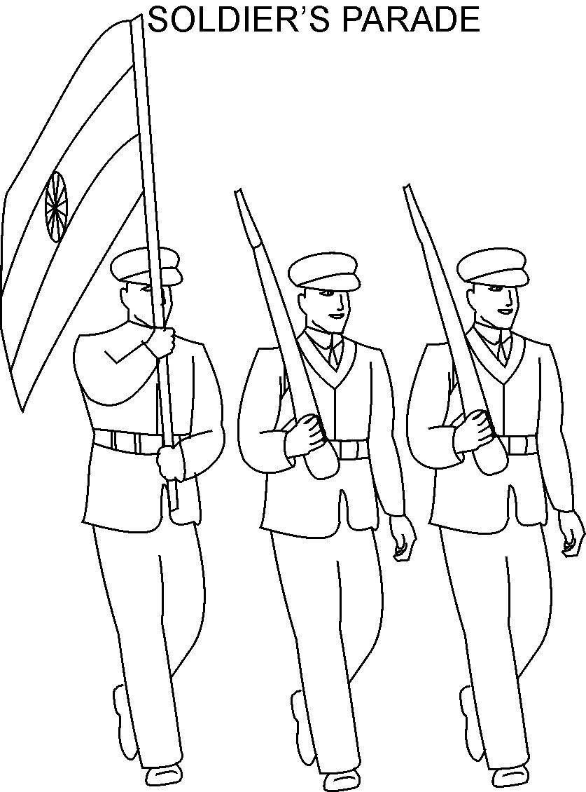 parade republic day sketches | Republic day Soldier parade ...