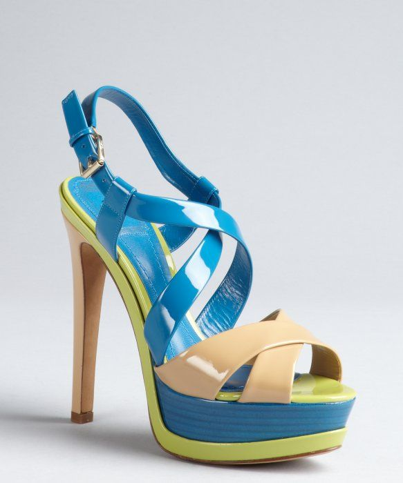 Christian Dior bright blue and neon green patent leather peep toe platform sandals lbvv