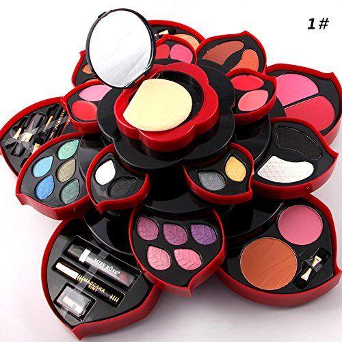 Photo of ZHUOTOP Luxurious Eyeshadow Blusher Foundation Concealer Lip Gloss Eyebrow Brush Rotation Makeup Kit Hot Flower Design L01#