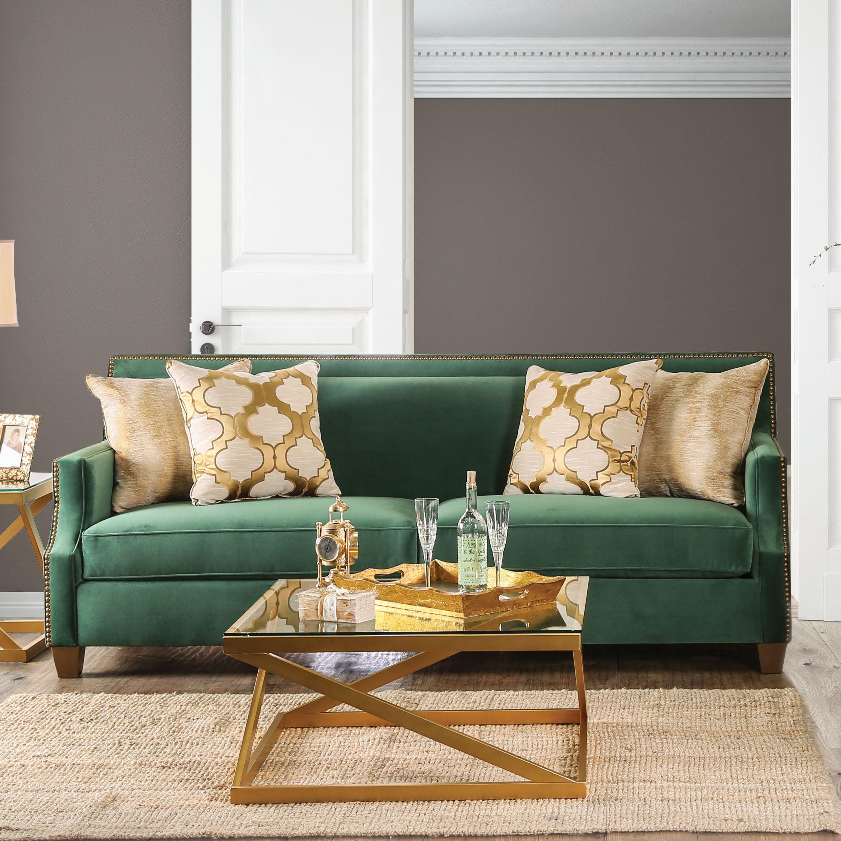 Katrina Contemporary Emerald Green Nailhead Sofa by FOA (Emerald Green), Furniture of America images