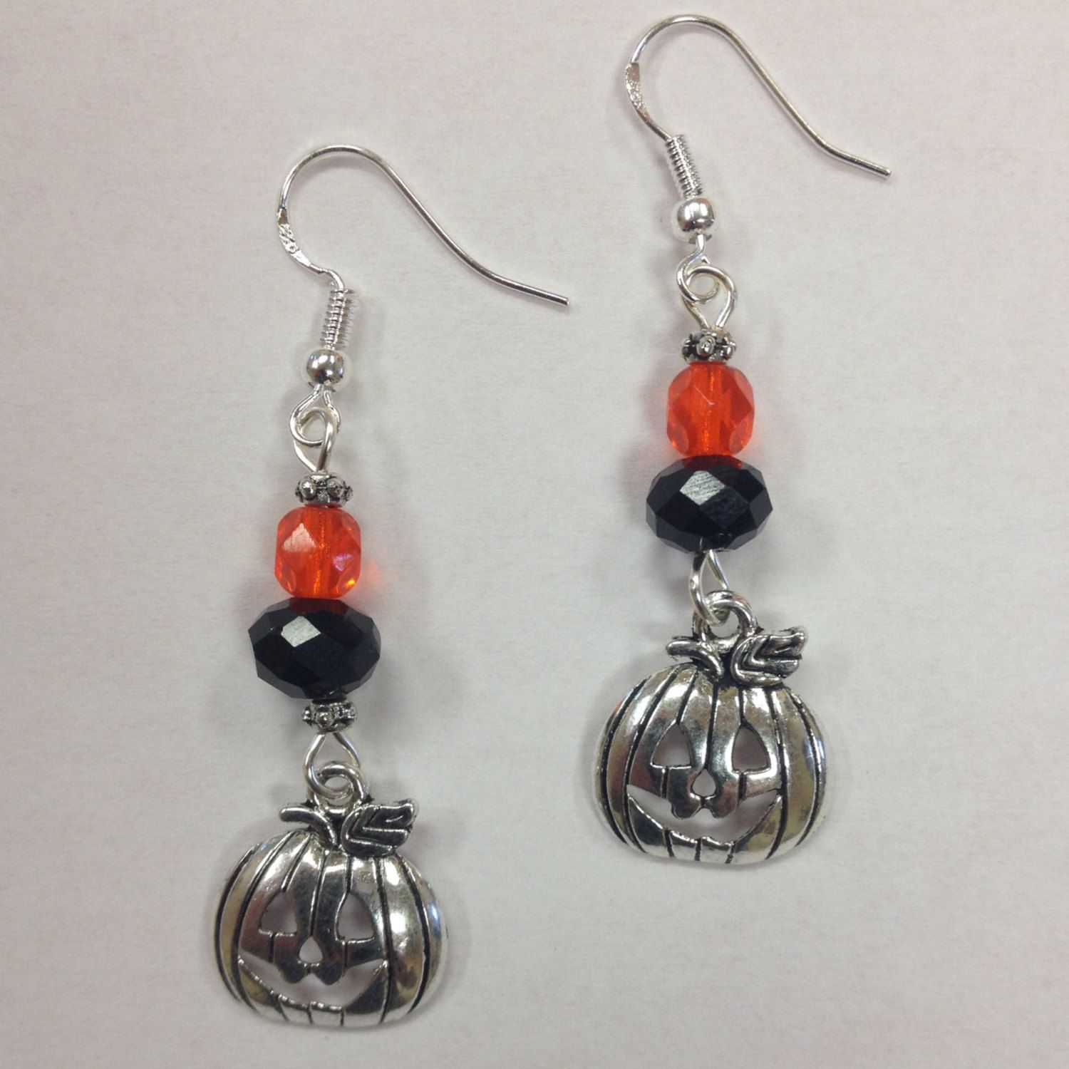 Pumpkin, Fall or Halloween Earrings, with orange & black crystal accent beads - on sterling silver earwires by AnnPedenJewelry on Etsy