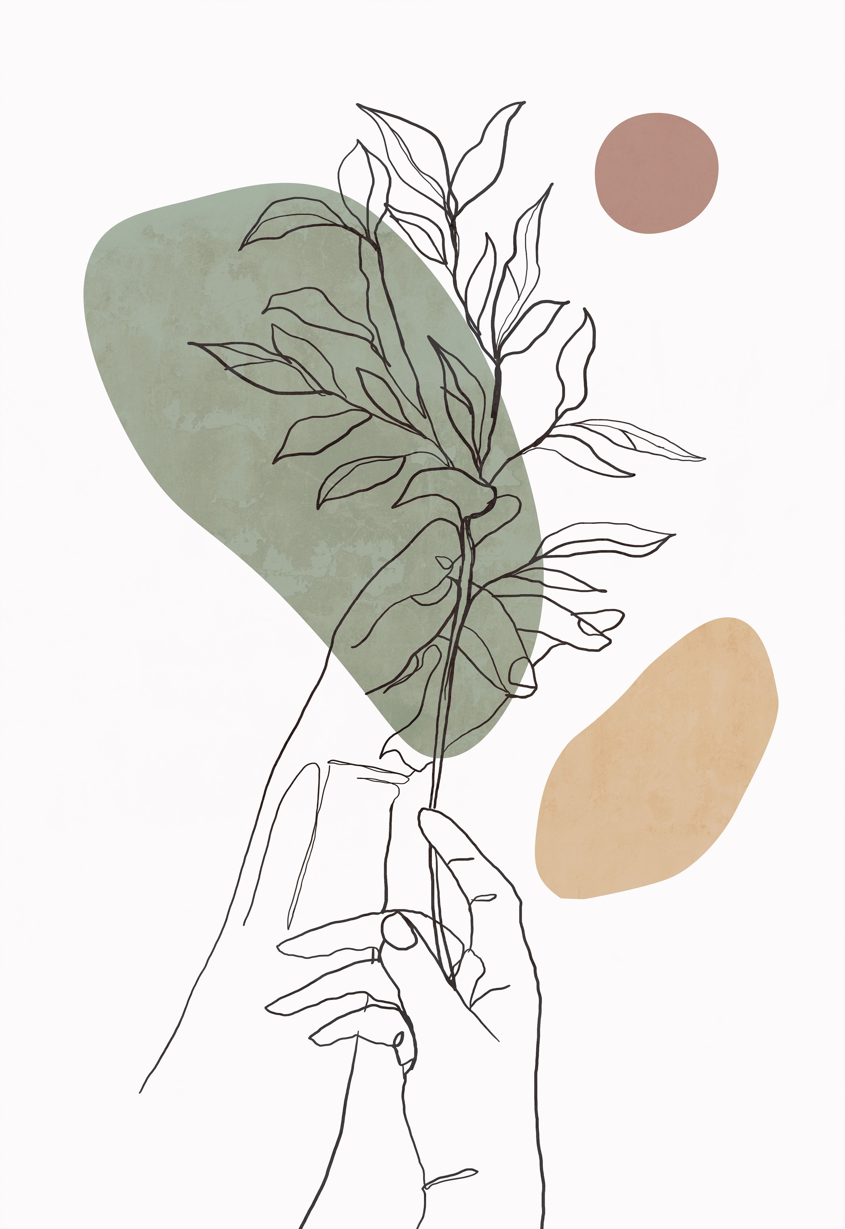 Abstract minimalist line art hands