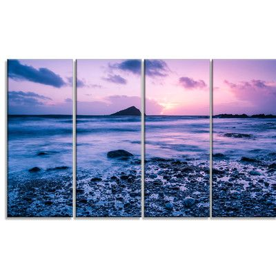 DesignArt 'Slow Motion Waves on Rocky Beach' 4 Piece Graphic Art on Wrapped Canvas Set