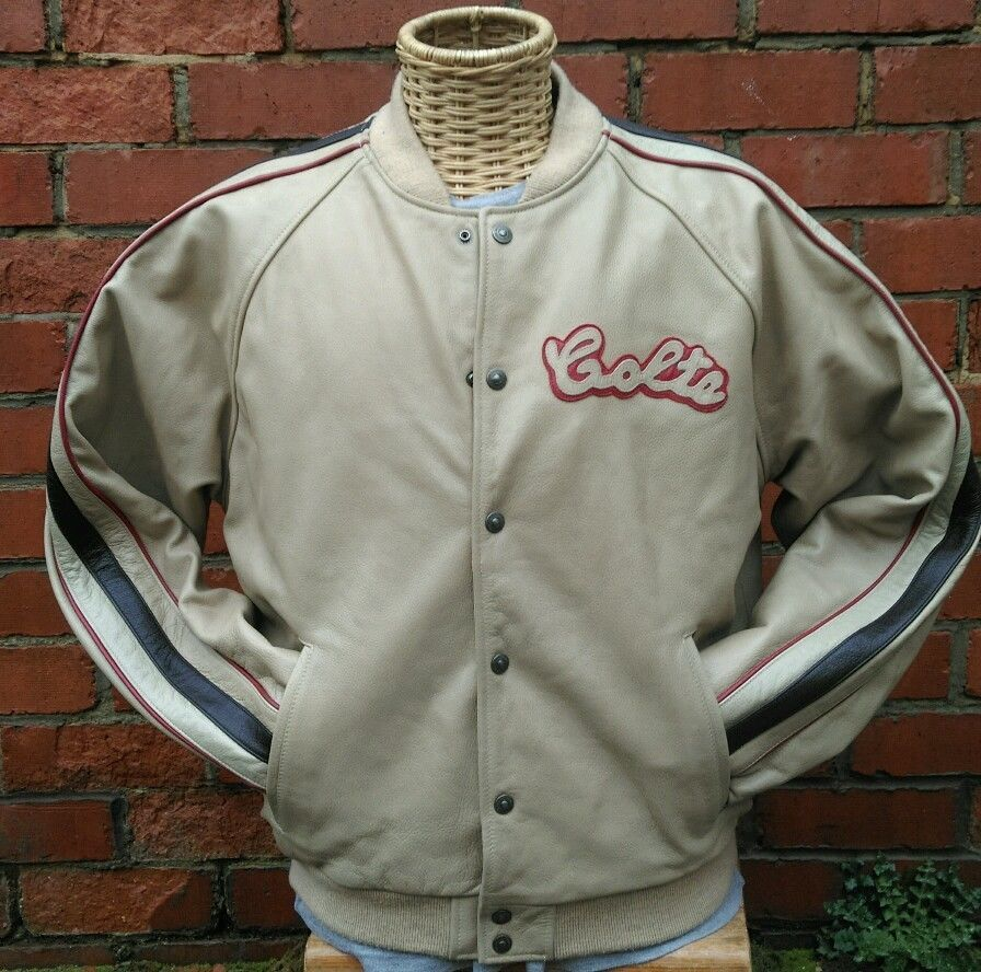 RETRO CHEVIGNON BEIGE LEATHER VARSITY JACKET Size XL TOGS