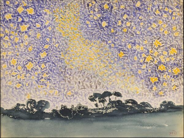 "#Painting by French Neo-Impressionist Henri Edmond Cross  ""Landscape with Stars"" (1905-08)"