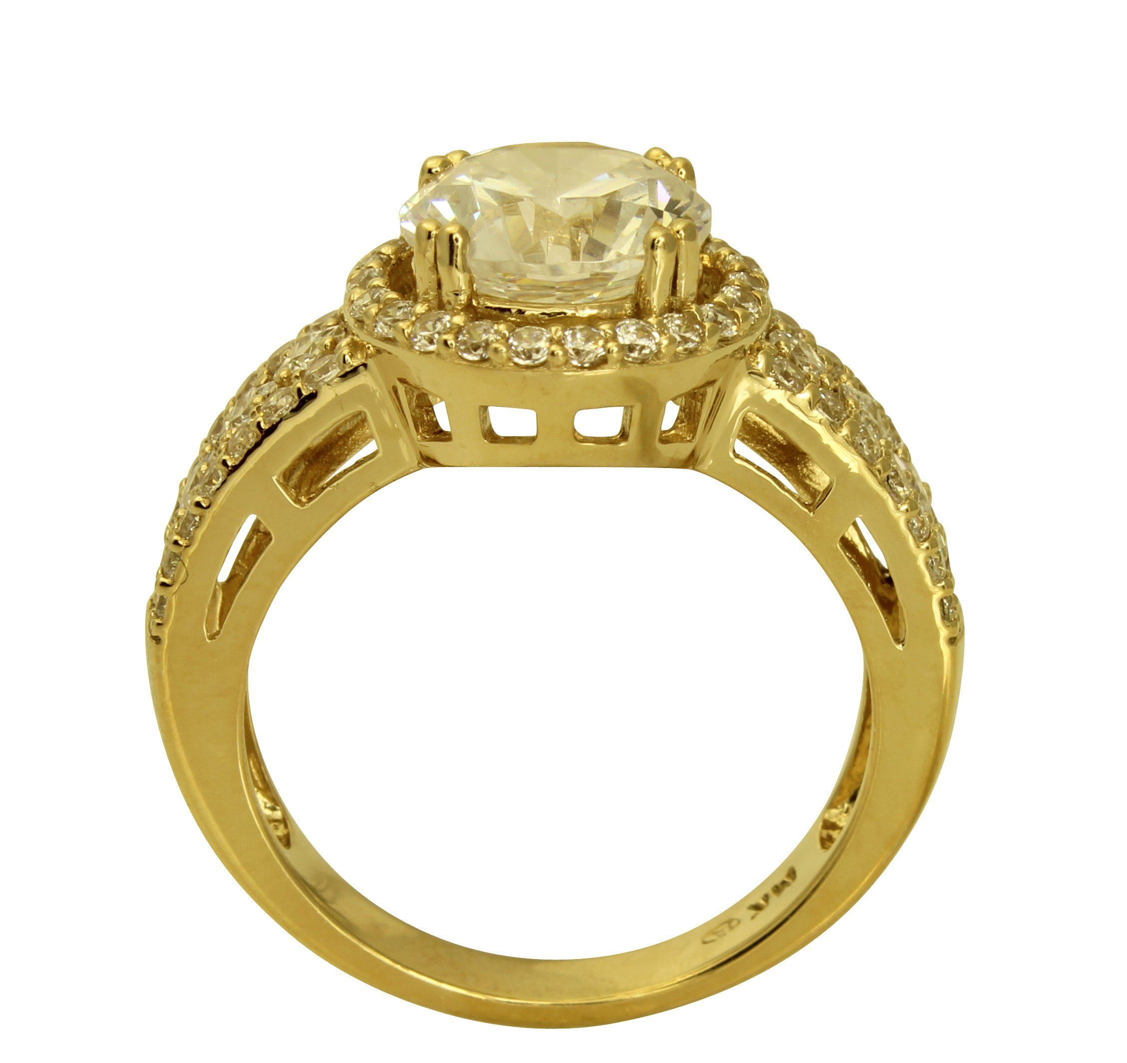 300 Ct 14K Real Yellow Gold Big Fancy Round Cut Center with