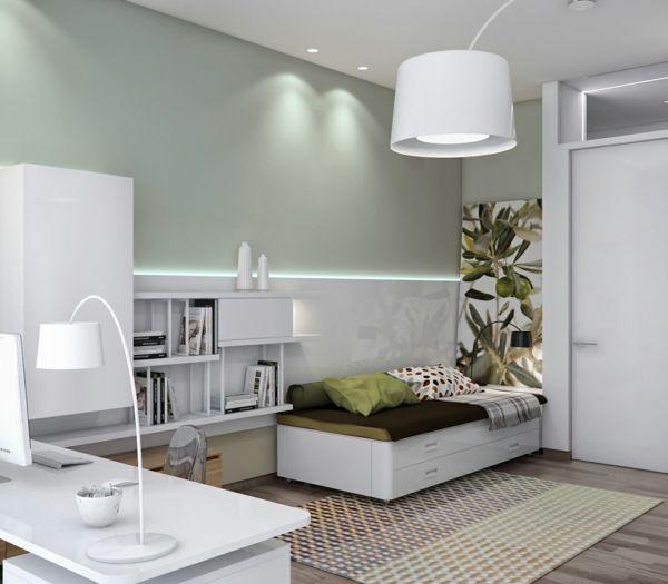 weißer-kombiraum-schreibtisch-und-schlafsofa | befrooms, Wohnzimmer dekoo