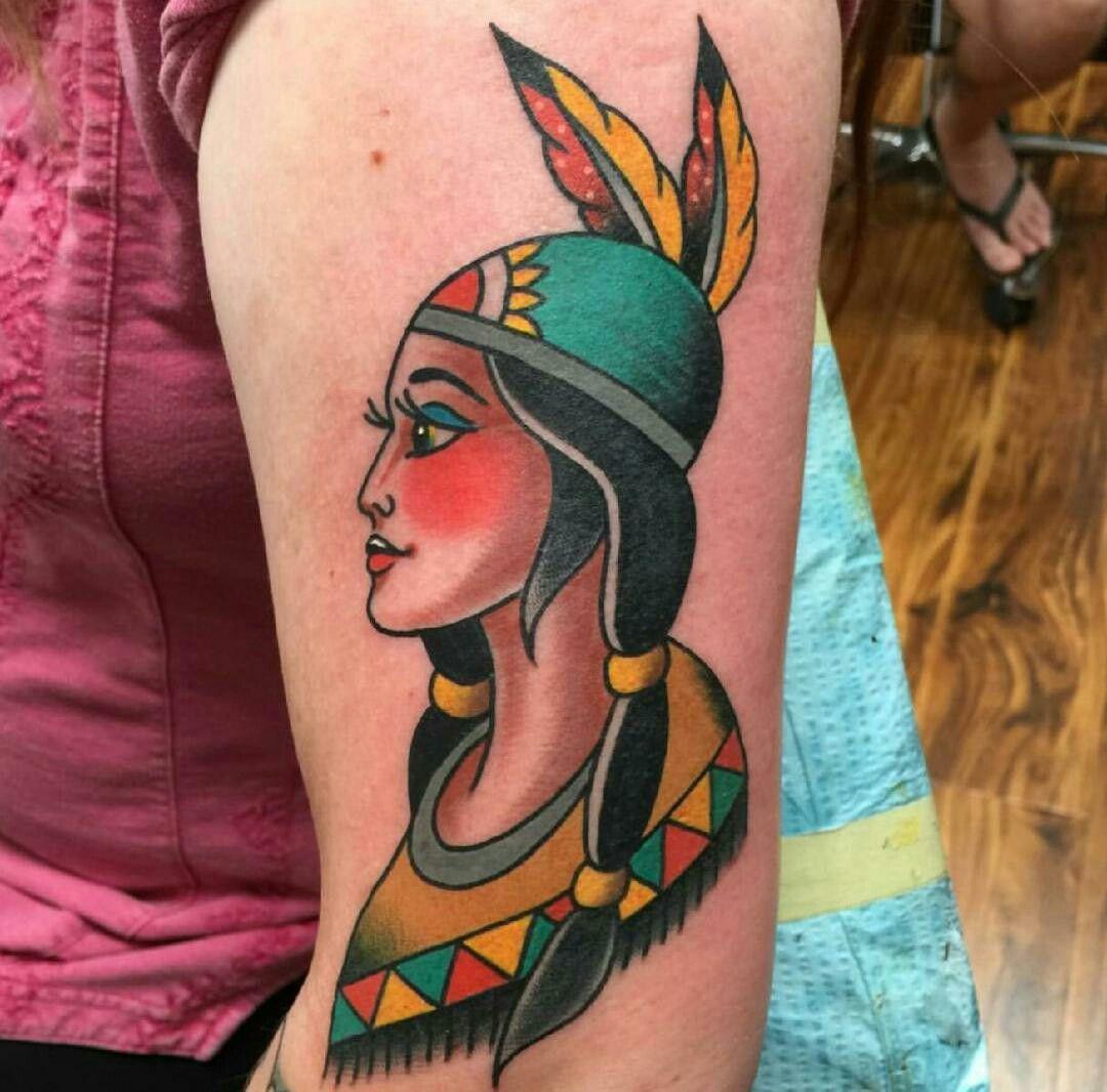 Tattoo native american indian headdress traditional art nc