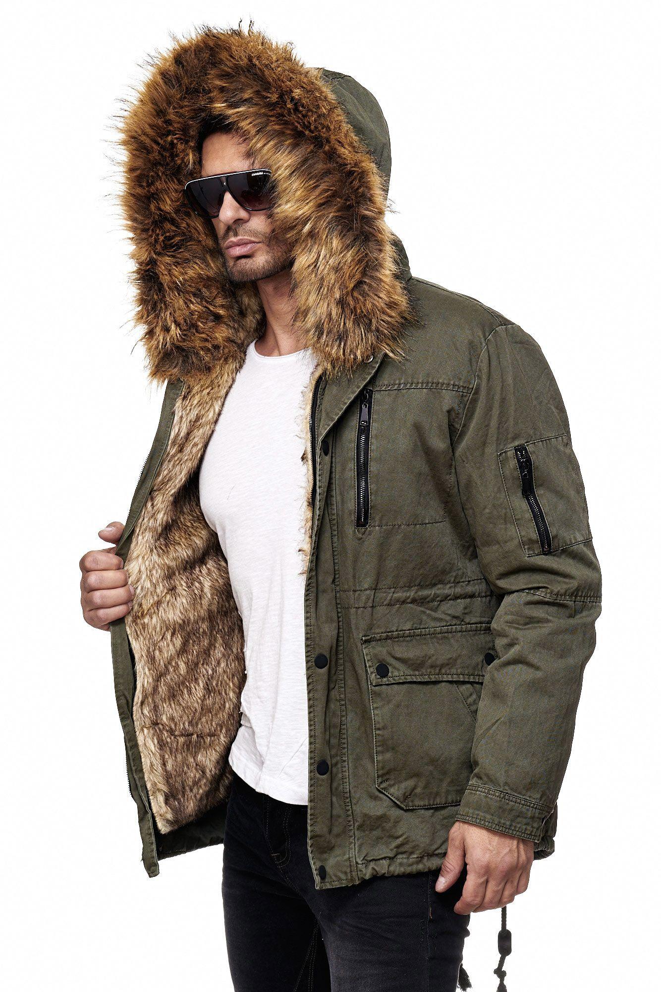 Redbridge Herren Winterjacke Jacke Parka Mantel Mens Jacket Fell Fur Olive El Patron Herbst Jacken Herren Manner Jacken Jacken