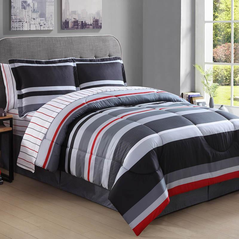 Bed In A Bag Arden Grey Cotton Stripe Microfiber Complete Bed In A Bag Latest Bedding Bed In A Bag Striped Bedding Comforter Sets