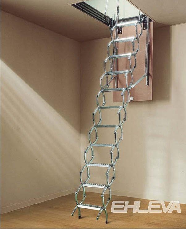 Escalier Escamotable Accordeon En Aluminium Vision Ehleva Escalier Escamotable Renovation Maison Escalier