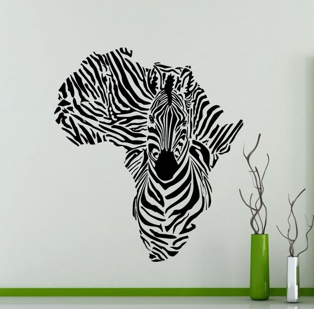 Africa Map Silhouette Creative Special Zebra Wall Mural Cool Animal Wall  Sticker Vinyl Removable Home Decorative Part 40
