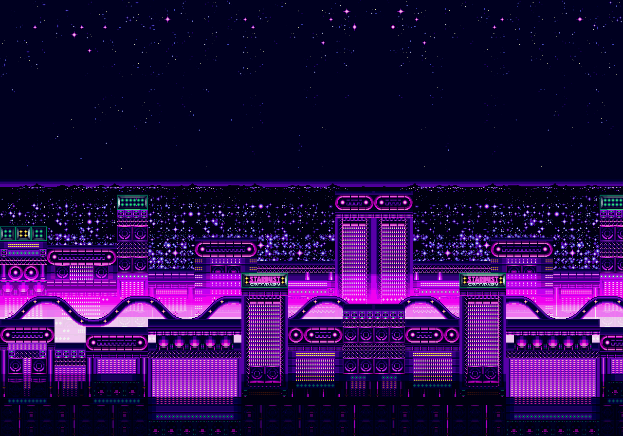The background of Stardust Speedway Zone Act 2 from Sonic