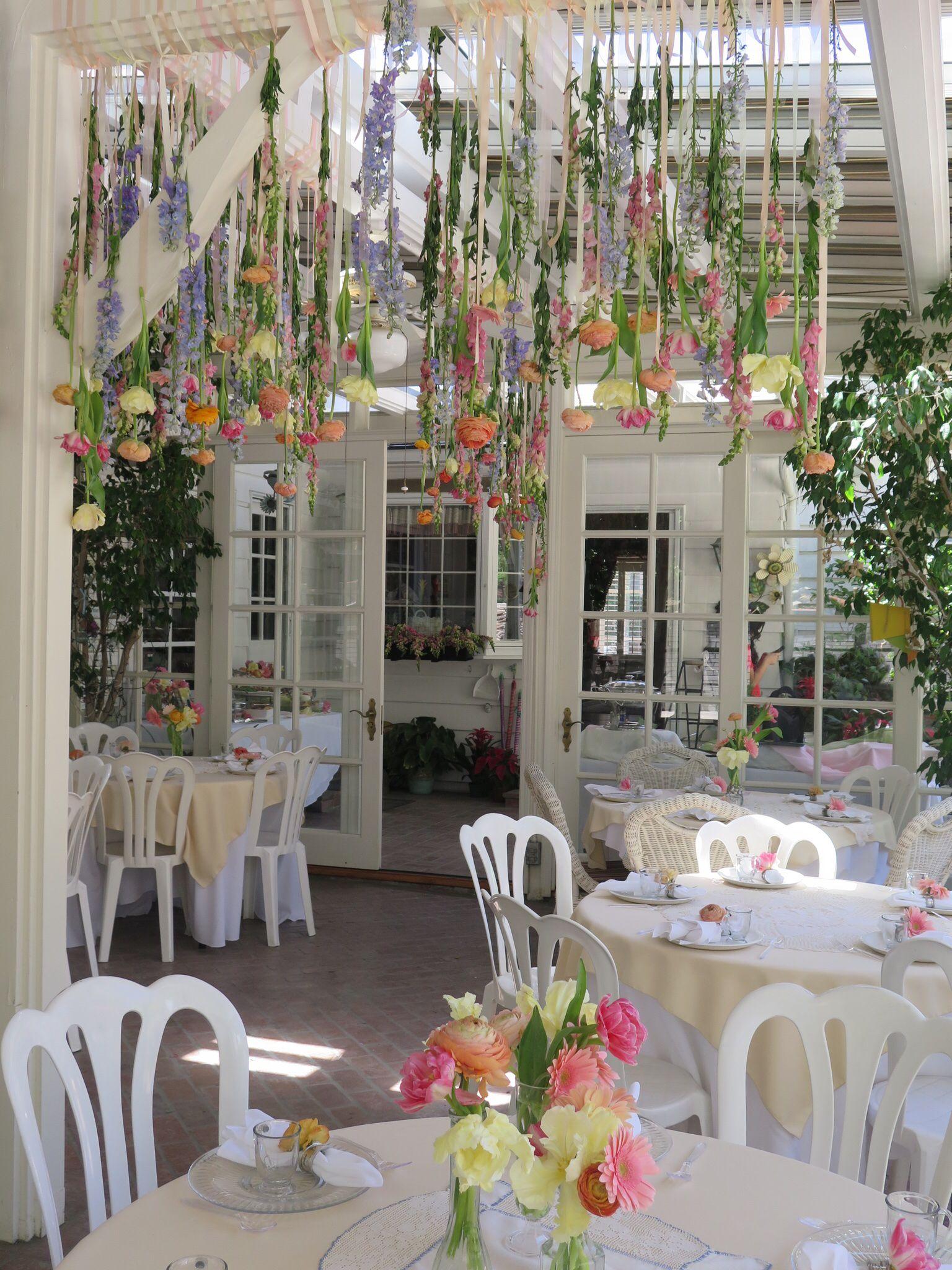 Garden Party Bridal Shower Hanging Flowers Garden Bridal