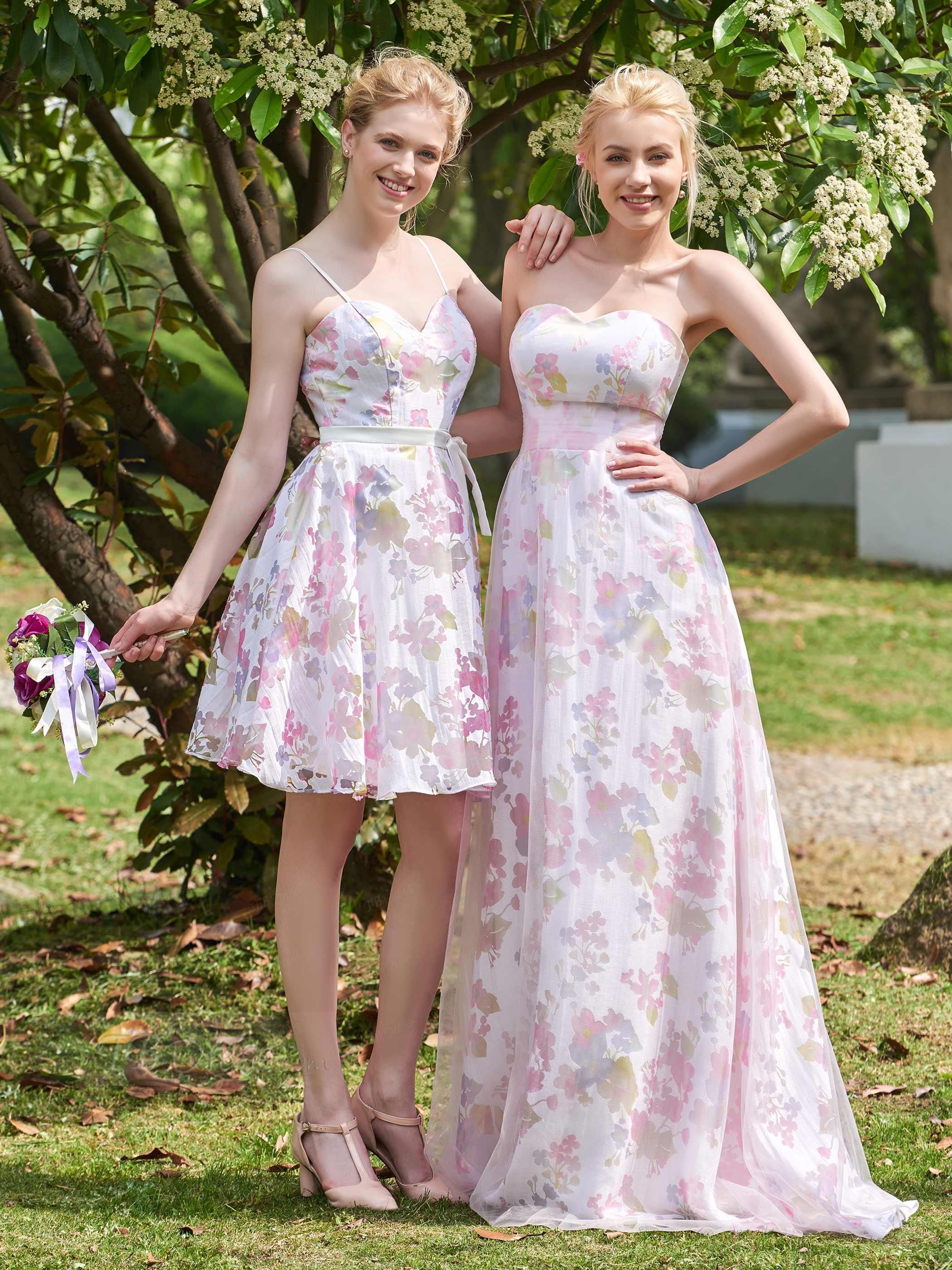 Bridesmaid Dresses Uk Wedding Party Parties Bridesmaids Sleeveless Color Print Zipper Printing Weddings