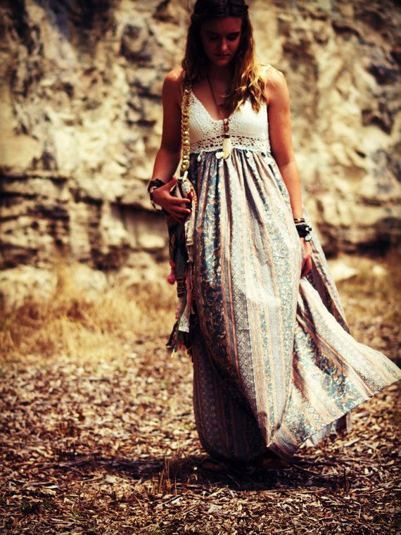 Bohemian maxi dress crochet cotton boho dress by TheLookFactory