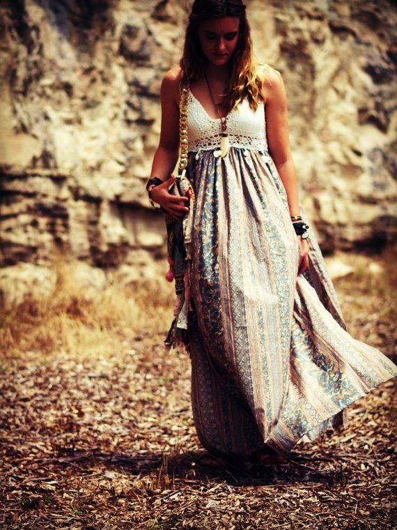 Bohemian maxi dress crochet cotton boho dress by TheLookFactory