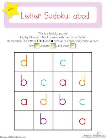 worksheets easy sudoku letters abcd