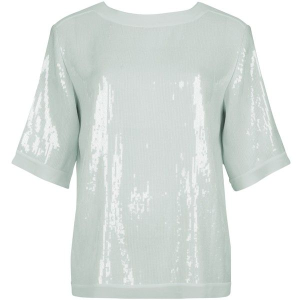 Ted Baker Sequin Square Top, Pale Green (1 065 ZAR) ❤ liked on Polyvore featuring tops, sequin short sleeve top, loose fitting tops, sparkly tops, loose tops and elbow length tops