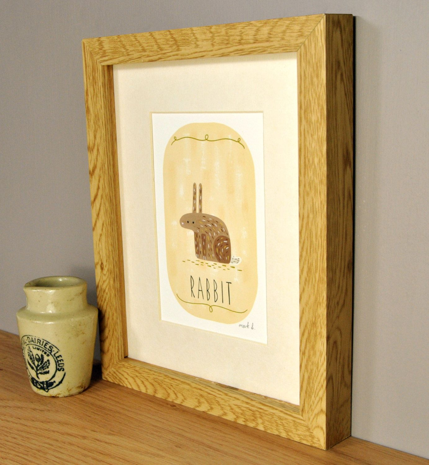 Rabbit art print - 6x4 painting - Available in pink, peach, cream ...